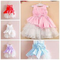 Special offer,NEW,2015 children dress 1pcs/lot girls High-grade Princess dresses Big bowknot dresse for summer red pink LI0049
