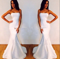 Sexy Designer Fishtail Strapless Long White Mermaid Prom Dresses 2015 Short Trailing Party Free Shipping Custom Made Prom Gown