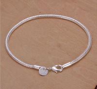 wholesale 925 sterling silver Fashion snake 20 cm  bracelet/bangle Jewelry crystal trendy men bracelets Free shipping