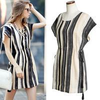 2015 women dresses summer new large size women pumping with Slim striped dress   s-xl plus size women fashion short dresses