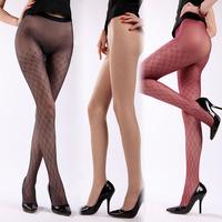 6 10d seamless thin rhombus jacquard wear-resistant wire velvet pantyhose