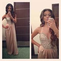 Rhinestones Corset Sexy Prom Dresses 2015 Chiffon Bandage Dress to Party Evening Prom DressesVestidos Formatura Graduation Gown