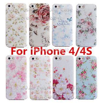 Романтический цветок 17 стили красочным окрашенные крышки раковины чехол для Apple , iPhone 4 4S 4 г, чехол для iPhone4 iphone4S бесплатная доставка