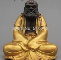 Free Shipping Tibet Folk Fane Classical Bronze Gild Dharma ancestors Buddha Statue