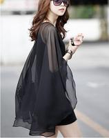 2015 spring summer new Korean version personality chiffon sleeve dress stitching Slim   short black cape shawl type