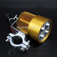 Free Shiping Universal Waterproof Motorcycle E-bike scooter lamp 4-LED Headlamp Spotlight led Driving Light 12V-85V Gold color