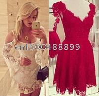 2015 new fashion long-sleeved dress lady sexy lace dress women short mini dress