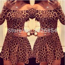2015 New Fashion Women Leopard Sexy Party Dresses Slash Neck Long Sleeve Woman Summer Club Mini Dress Evening vestidos(China (Mainland))