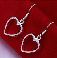 New Women Men Earrings Jewelry 925 Sterling Silver Drop Earrings Fashion Women Hollow Heart Silver Earrings Jewelry Wholesale