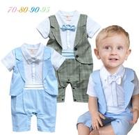 Baby Boy Costume Bow Tie Tuxedo Romper Fake Vest Gentleman Suits Toddlers