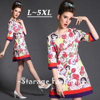 L-5XL Brand Plus Size Women Flower Print Half Sleeve Knee-Length A-Line Dresses 2015 Spring Summer Big Size Casual Dress 1511