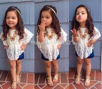 2015 spring summer Baby girl shirt children T shirts blouse bat sleeve lace tee shirt girls Mini Dress Children's girls clothing