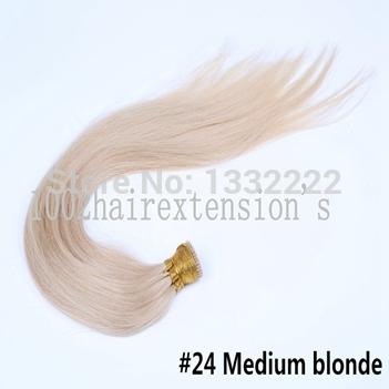 Cheaper 100S 16' 18' 20' 22inch #24Medium blonde 40g 50g/pack keratin stick tip hair I tip hair extension natural hair straight(China (Mainland))