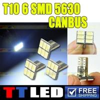 NO ERROR 100X T10 W5W T10 194 168 5730 6SMD Can-bus Error Free Led Clearance Lights Reading Lamps White Blue Interior Light#TB65
