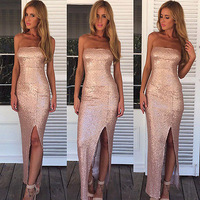 Sexy Women Lady Sequins Long Prom Ball Cocktail Party Dress Formal Evening Gowns