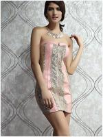 Summer New Slash Neck Women Dresses Lights Sexy Party Dress  HM160