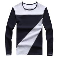 Big Yard M~5XL New Fashion color block long sleeve cotton men t shirt, casual slim O-neck MenT-shirt men's clothing 5 colors