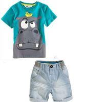 new boys summer cartoon clothing sets children casual clothes kid apparel t-shirt+jean shorts 2pcs XMZ045