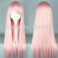 New Fashion Cheap Cosplay Long Wig Light Pink Straight Women's Full Lolita Wig Kanekalon Hair brazilian no Lace Front Wigs
