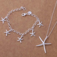 AT084 Fashion New Design Cute Star 925 Silver Jewelry Sets Necklace,Earrings and Bracelet,Newly Style 925 Silver jewelry sets