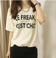 Sweet gentlewomen sports women's 2015 summer fashion new arrival slim letter brief basic women's T-shirt short-sleeve shirt