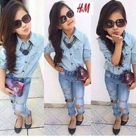 2015 New Arrival Girls Clothing Set Denim Shirt+Hole Jeans Suits 2pcs Kids Girl Clothing Suit Kids clothes 6set/lot