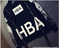 Free shipping New style fashion brand HBA X light vertebral double zipper long sleeved cashmere Unisex  dress tide hoody coat