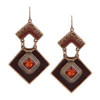 Retro Jewelry Gold Plated Brand Design Full Crystal Square Enamel Pendant Women Statement Vintage Hook Earrings