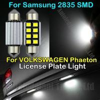 2x Pure White Error Free 36mm CANBUS C5W LED For Samsung 2835SMD Car Bulb License Plate Light For VOLKSWAGEN Phaeton 2002-2011