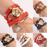 Women elegant Lady Watches Crystal Faux Leather Strap Long Chain Quartz Casual Wristwatches