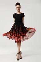 2014 Summer Floral Dress Women Fashion Print Prom Party Short Sleeve Dresses Sexy Bohemia Chiffon Big Size Dress