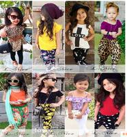2015 Summer Shirt + Harem Pants 2pcs Children's Girls Clothing Set Suit Fashion 8 Style Kids Girls Clothes 80-120