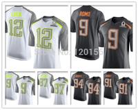 2015 Pro Bowl Football Jerseys Drew Brees,Andrew Luck,TONY ROMO,J.J. WATT,DeMarcus Ware White Grey American Football Jersey