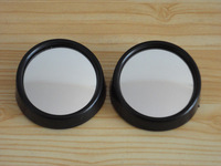 Black Car small round mirror Blind spots Rearview Reverse auxiliary lens One Pair