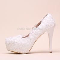 Cheap White Lace Wedding Shoes 12cm Bridal Shoes Ultra High Heels Platform Formal Dress Party Shoes