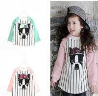 Free Shipping NEW 1PC/Lot Spring & Autumn Children Boys Girl Cartoon Dog Long T- Shirt  Kids Cloth Cotton Fashion tops tees Gift