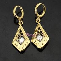 Womens Girls 18k White Crystal Earrings Yellow Gold Filled Drop Earrings Dangle Jewelry