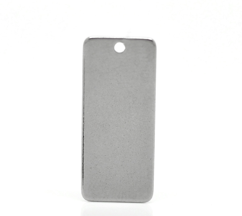 2*20PCs Silver Tone Stainless Steel Pendants Blank Stamping Tags For Jewelry Making 21x9mm(China (Mainland))