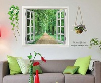 90*60cm 3D Window View Scenery&Flower Wall Sticker Decor Decals Removable