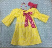 baby girls kids yellow damask hot pink dress with matching headband and necklace