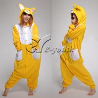 Winter Unisex Adult Yellow Fox Pajamas Cosplay Costume Animal pajamas Cartoon Animal Onesies Pajama Sets
