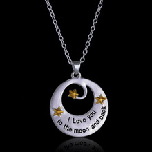 "New Fmilay Lover Friend ""I Love You To The Moon And Back"" Pendant Necklace Personalized Gift Engraved Silver Necklaces"