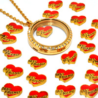 "High quality new style fashion red heart ""Best friend"" floating charms for glass floating locket."
