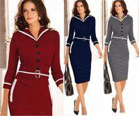 2015 Limited Work New Women Winter Dress Elegant Office Pencil Dresses Formal Bodycon Midi Three Quarter Sleeved Clothing C308