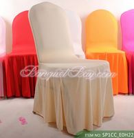 Bottom Ruffled Spandex Chair Cover-Champagne