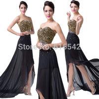 Stock Black A-Line party dresses Sweetheart Neck Sleeveless Beading Hi-Lo Floor Length Chiffon Prom Dresses Size 2-16