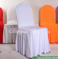50pcs White Color  Bottom Ruffled Spandex Chair Cover Free Shipping