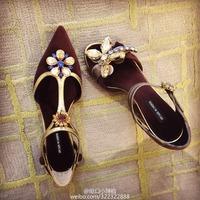 Women pumps Fashion 2015 high heels pointed toe rhinestone flock brand sexy spring luxury shoes lx2474