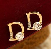 LR175 D zircon manmade diamond earrings flash Crystal women earrings