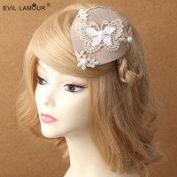 Princess lolita hairpin Lace butterfy winter pearl lady cream colore David ray hat clip accessories British hair clip FJ - 02